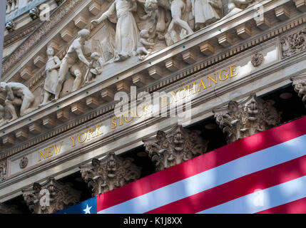 The front of the New York Stock Exchange Building, Wall Street, New York - Stock Photo