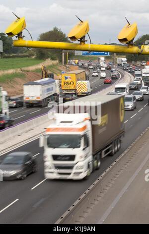 Average speed cameras on the M6 motorway in Cheshire,UK. - Stock Photo