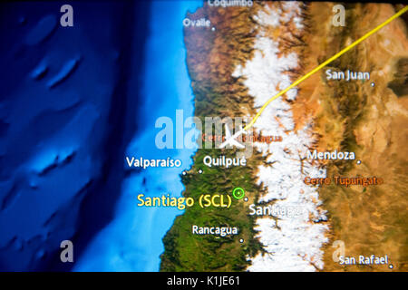 MADRID, SPAIN - JUNE 05, 2017: Detail of a digital map showing the trip from Madrid to Santiago de Chile in south - Stock Photo