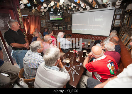 British and Irish Lions rugby fans supporting their team versus New Zealand All Blacks in deciding test at Eden - Stock Photo