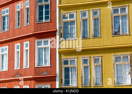Detail of some typical houses seen in Valparaiso, Chile - Stock Photo