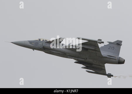 Swedish Air Force Saab Gripen jet fighter aircraft flying at the 2017 Royal International Air Tattoo - Stock Photo