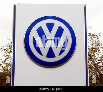 VW logo, Volkswagen, Motor Cars, vehicles, main dealer, dealership, England, UK - Stock Photo