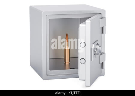 combination safe box with bullet, 3D rendering isolated on white background - Stock Photo