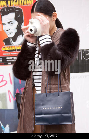 Fashion model Ming Xi Street Style. New York Fashion Week - Stock Photo