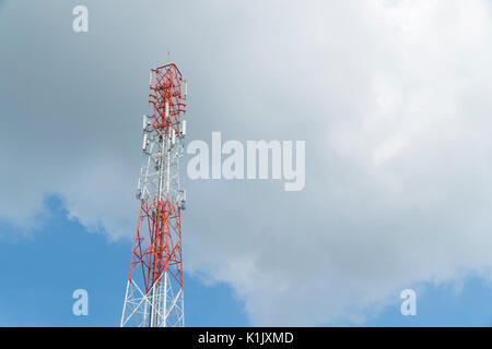 communications antenna tower mobile phone signals - Stock Photo