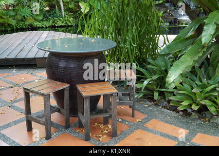 Garden Furniture Wooden Table And Chairs Stock Photo
