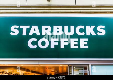 Washington DC, USA - July 1, 2017: Inside Union Station in capital city with Starbucks sign - Stock Photo