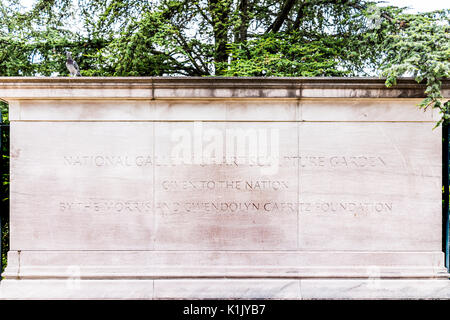Washington DC, USA - July 3, 2017: Closeup of sign for National Gallery of Art Sculpture Garden in summer on National - Stock Photo