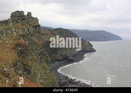 Valley of Rocks and Wringcliff Bay on the South West Coastal Path near Lynton, Somerset, England