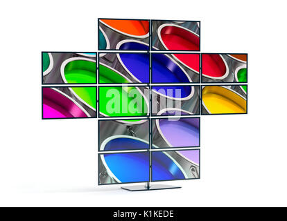 Monitor wall showing an image of Paint Buckets - 3D Rendering - Stock Photo