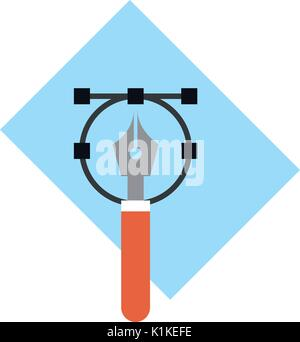 fountain pen drawing on sheet of paper icon image vector