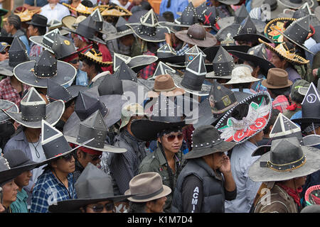 quechua indigenous people participating at the annual Inti Raymi parade at the summer solstice - Stock Photo