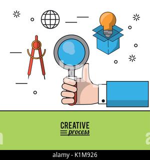 colorful poster creative process with hand holding magnifying glass and icons of compass and light bulb in cardboard - Stock Photo