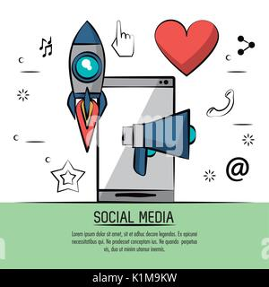 colorful poster of social media with icons rocket megaphone heart and smartphone in back - Stock Photo