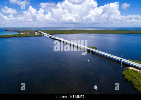 Florida Florida Keys Upper Key Largo Lake Surprise Route 1 Overseas Highway aerial overhead bird's eye view above - Stock Photo