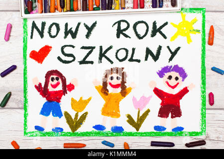 photo of colorful drawing polish words new school year and happy children first day