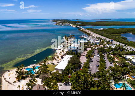 Florida Florida Keys Upper Islamorada Whale Harbor Channel Route 1 Overseas Highway Windley Key Atlantic Ocean aerial - Stock Photo