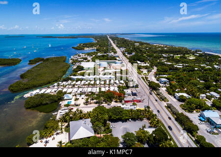 Florida Florida Keys Upper Islamorada Florida Bay Atlantic Ocean Route 1 Overseas Highway aerial overhead bird's - Stock Photo