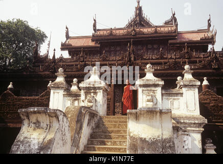 Shwenandaw Kyaung (old wood Buddhist monastery), Mandalay, Burma (Myanmar) - Stock Photo