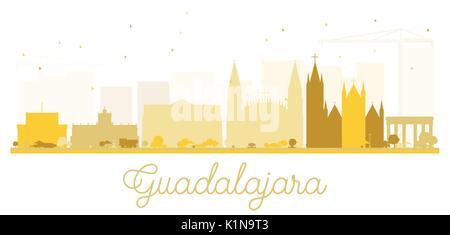Guadalajara City skyline golden silhouette. Vector illustration. Simple flat concept for tourism presentation, banner, - Stock Photo