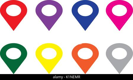 Location red yellow blue green gray pink orange purple icon vector. Pin sign Isolated on white background. Navigation - Stock Photo
