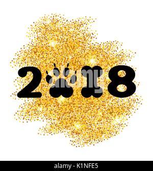 New Year 2018 with Symbol Dog Paw Print and Bone Shape, Glitter Surface - Stock Photo