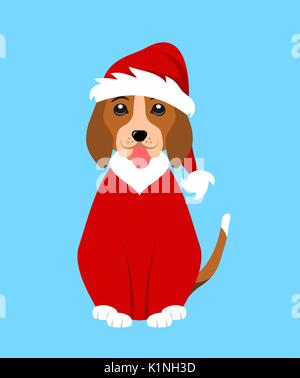 May your days be merry and bright. Merry Christmas greeting card with funny pug dog in Santa hat, illustration - Stock Photo