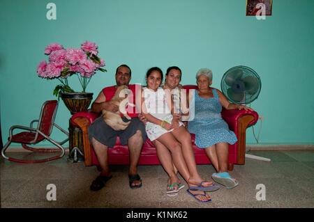 Cuban Family hosting a Casa Particulare in Trinidad Cuba - Stock Photo