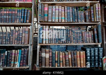 Old cuban books on sale in an open-air bookstore in Havana Cuba - Stock Photo