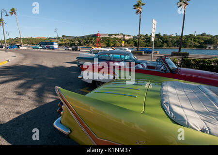 1957 Desoto and other classic American cars in Havana Cuba - Stock Photo