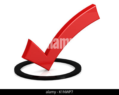 Red tick in the black round box, 3D rendering - Stock Photo