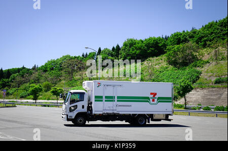 Akita, Japan - Mar 19, 2017. A truck parking on street in Akita, Japan. Akita is a mountainous northern prefecture - Stock Photo