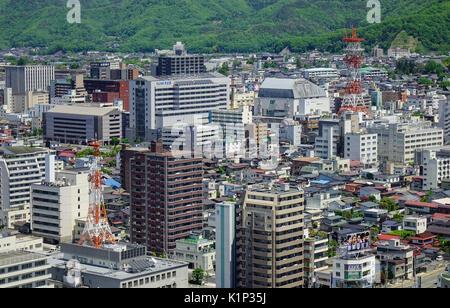Yamagata, Japan - May 19, 2017. Many buildings at Yamagata City in Tohoku, Japan. Yamagata is located in Tohoku - Stock Photo