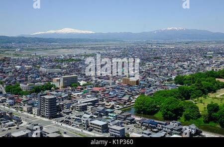 Yamagata, Japan - May 19, 2017. Aerial view of Yamagata City in Tohoku, Japan. Yamagata is located in Tohoku (northeastern) - Stock Photo