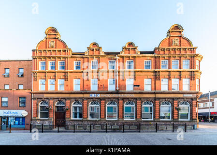 Northampton, UK - Aug 10, 2017: Clear Sky morning view of BBC Radio building at Abington Street in Northampton Town - Stock Photo