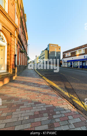 Northampton, UK - Aug 10, 2017: Clear Sky morning view of BBC Radio & Northampton Colleges building in Northampton - Stock Photo