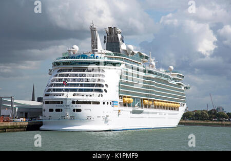 Cruise ship Navigator of the Sea alongside in the port of Southampton - Stock Photo