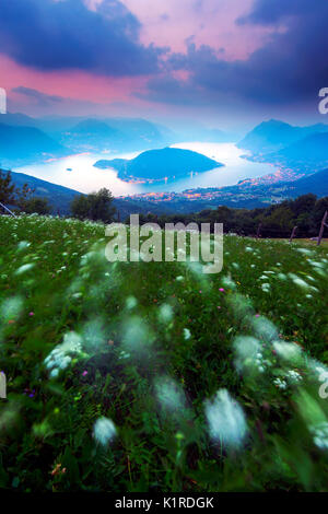 Monte Isola at blue hour from Colmi of Sulzano, Lake Iseo , province of Brescia , Italy - Stock Photo
