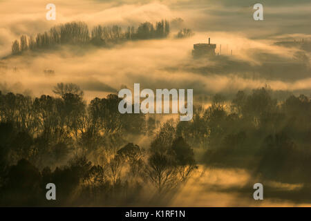 Atmosphere on the banks of the river Adda, province of Lecco, Airuno, Italy. - Stock Photo