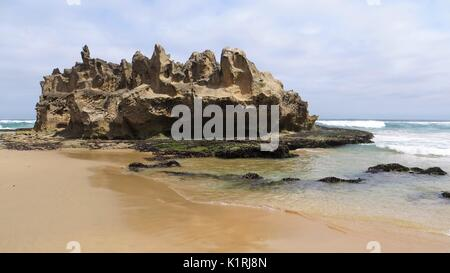 Landscape View of Castle Rock, Brenton-On-Sea Beach, Garden Route, South Africa - Stock Photo