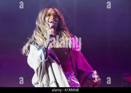 Portsmouth, Hampshire, UK. 26th Aug, 2017. Rita Ora appears on the Castle stage at victorious Music Festival, Hampshire, - Stock Photo