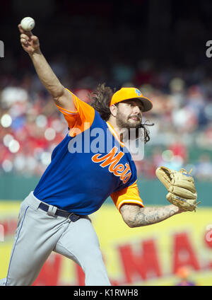 Washington, District of Columbia, USA. 26th Aug, 2017. New York Mets starting pitcher Robert Gsellman (65) pitches - Stock Photo