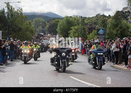 The start of the 2017 'THUNDER IN THE GLENS' convoy of 2200 Annual Harley Davidson motorcycle rally held at Aviemore - Stock Photo
