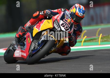 San Marino Italy - May 12: Nicky Hayden USA Honda CBR1000RR Honda World Superbike Team in action during the Superbike - Stock Photo
