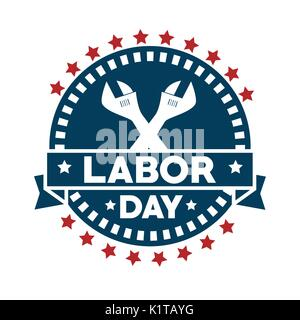 Seal stamp of Labor day in Usa theme Vector illustration - Stock Photo