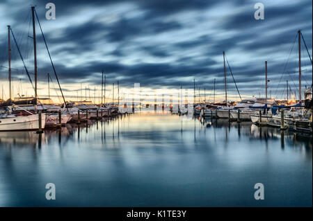 Landscape photo of boats in Tauranga Bridge Marina, Mount Maunganui - Stock Photo
