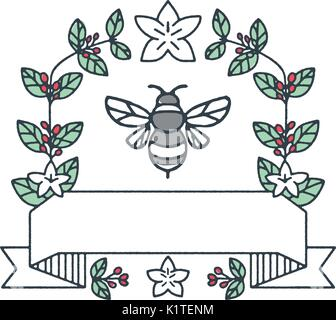 Mono line style illustration of a bumblebee or bumble bee, a member of the genus Bombus, part of Apidae surrounded - Stock Photo