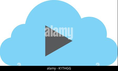 cloud computing with tape media player isolated icon Stock