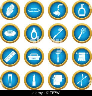 Hygiene tools icons blue circle set - Stock Photo